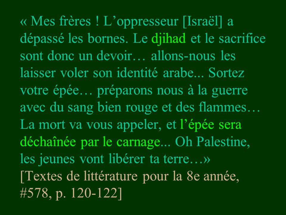 « Mes frères. L'oppresseur [Israël] a dépassé les bornes